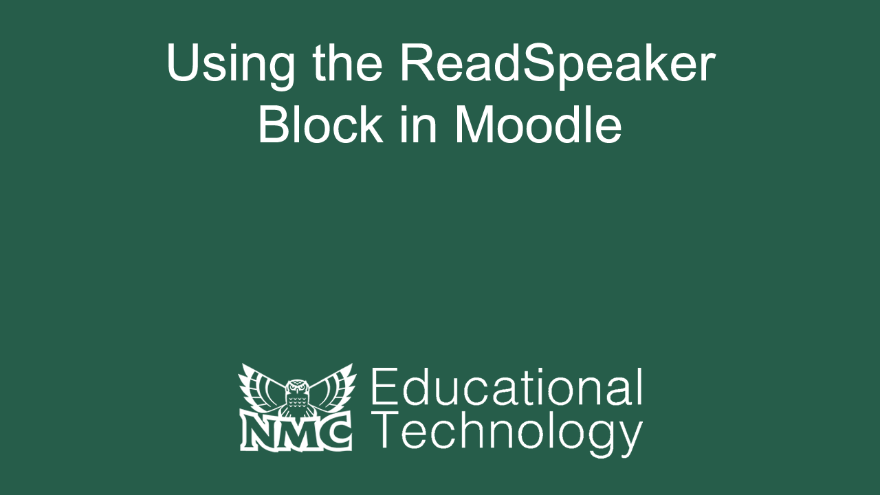 Using the ReadSpeaker Block in Moodle